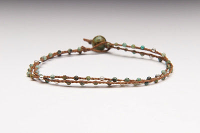 Small double strand gemstone linen bracelet in silver