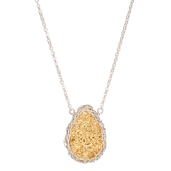 Medium Druzy Teardrop Necklace Silver