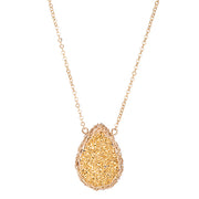 Medium Druzy Teardrop Necklace Gold