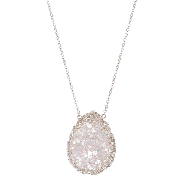 White Medium Teardrop Druzy Necklace in Silver