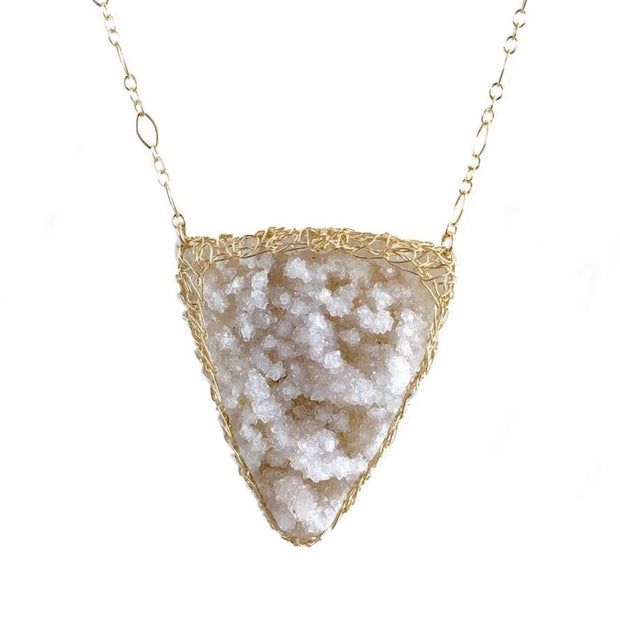 Natural Druzy Quartz Triangle Necklace In Gold