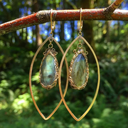 Green Onyx Long Gemstone Marquise Earrings in Gold