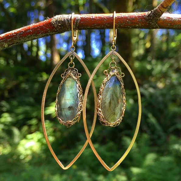 Labradorite Marquise Earrings in Gold