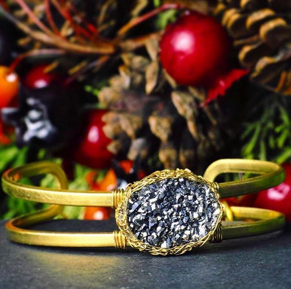 Dusty Black Druzy Cuff Bracelet in Gold