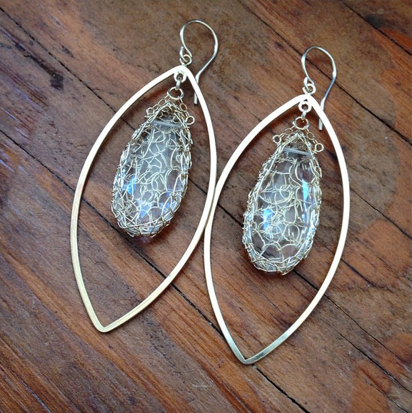 Turquoise Long Gemstone Marquise Earrings in Gold