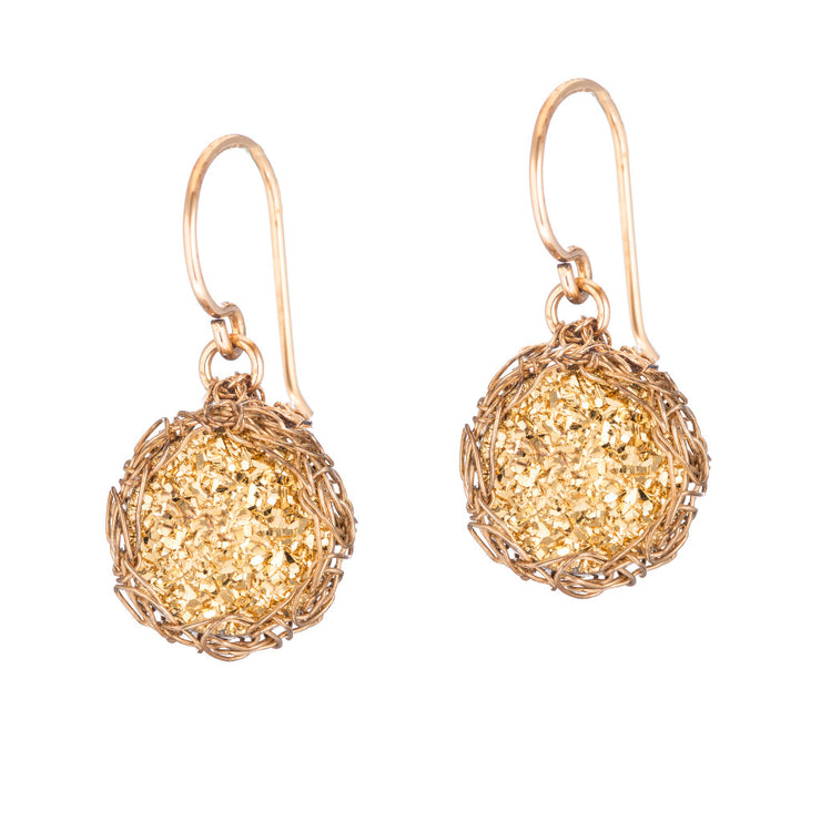 18kt Gold Small Round Druzy Dangle Earrings in Gold
