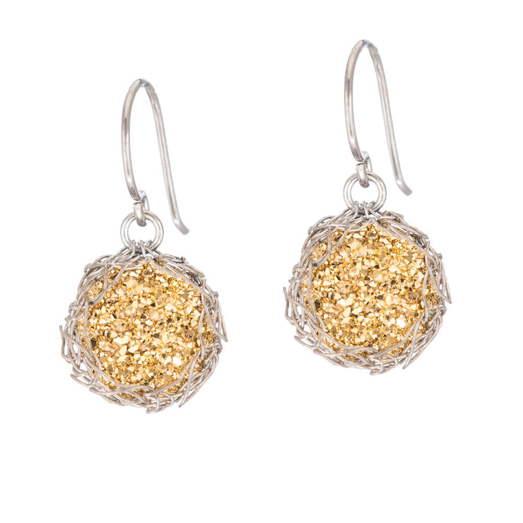 18kt Gold Small Round Druzy Dangle Earrings in Silver