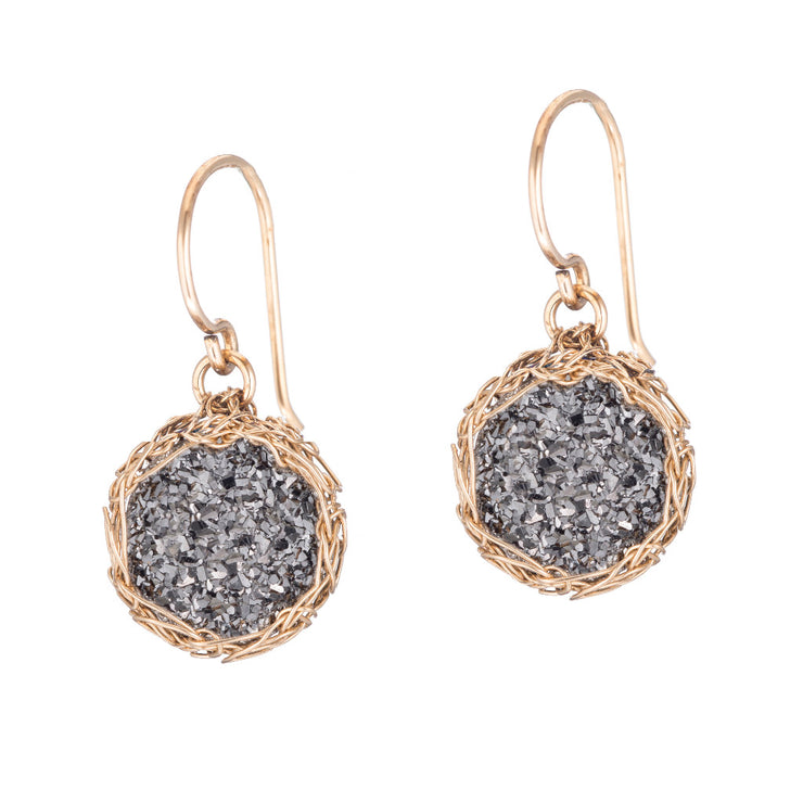 Dusty Black Small Round Druzy Dangle Earrings in Gold