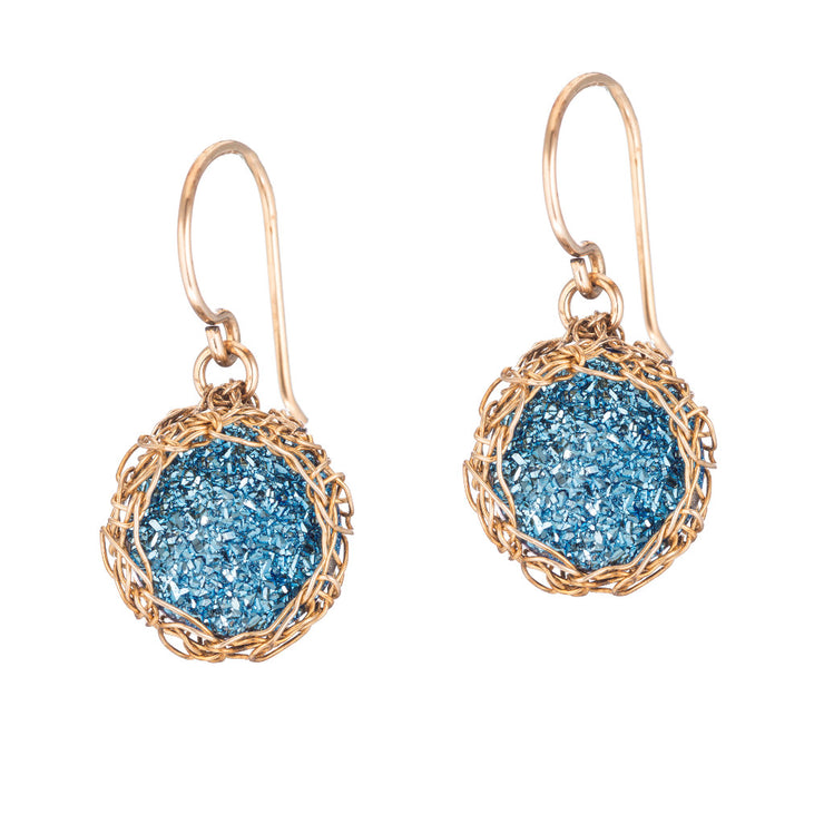 Cobalt Small Round Druzy Dangle Earrings in Gold