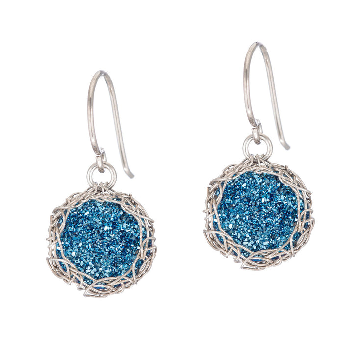 Cobalt Small Round Druzy Dangle Earrings in Silver