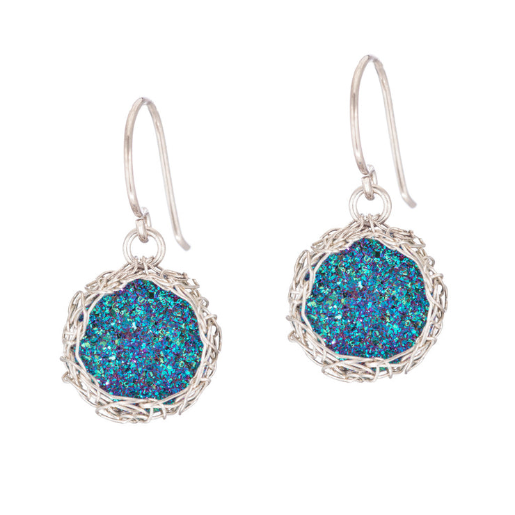 Rainbow Small Round Druzy Dangle Earrings in Silver