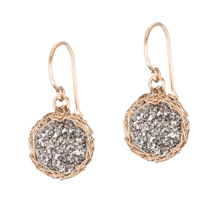 Titanium Small Round Druzy Dangle Earrings in Gold