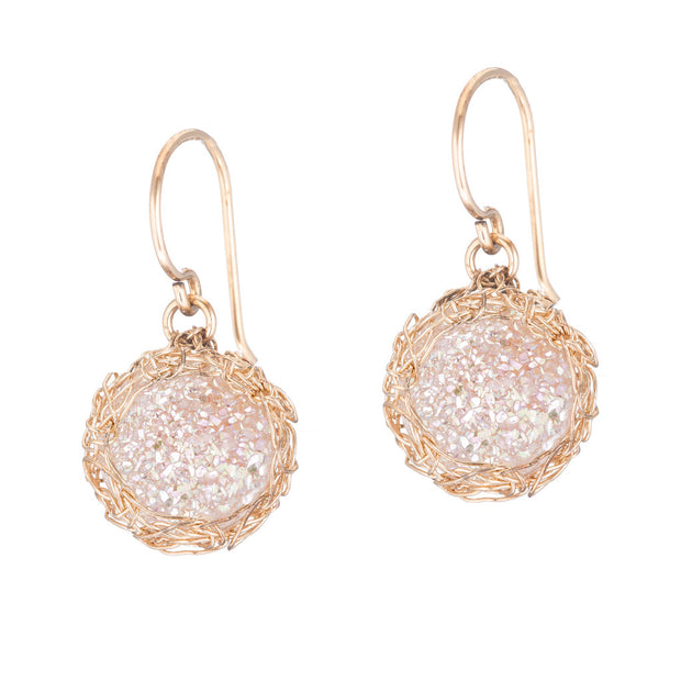 White Small Round Druzy Dangle Earrings in Gold
