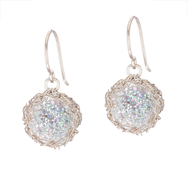 White Small Round Druzy Dangle Earrings in Silver