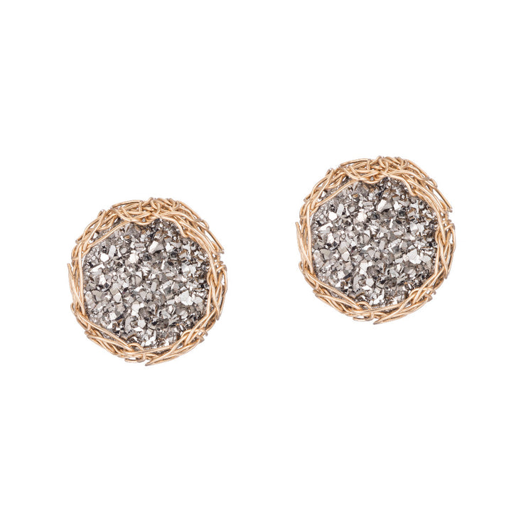 Small Druzy Round Post Earrings Gold