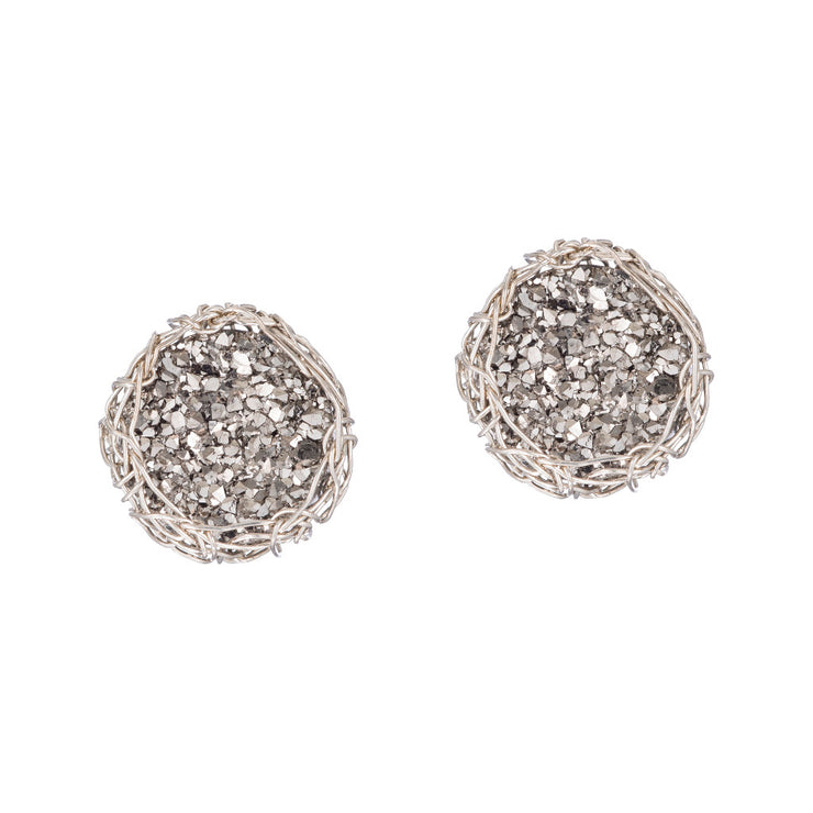 Small Druzy Round Post Earrings Silver