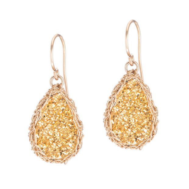 18kt Gold Small Teardrop Druzy Earrings in Gold