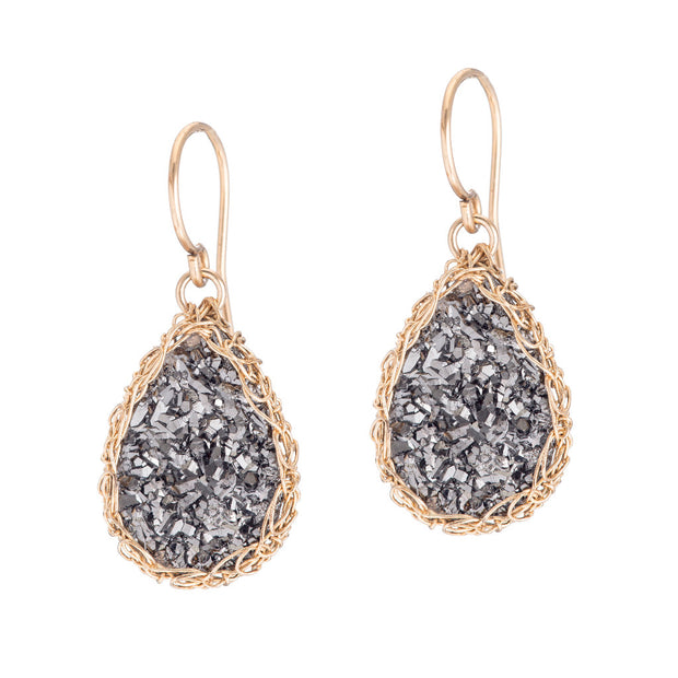 Dusty Black Small Teardrop Druzy Earrings in Gold