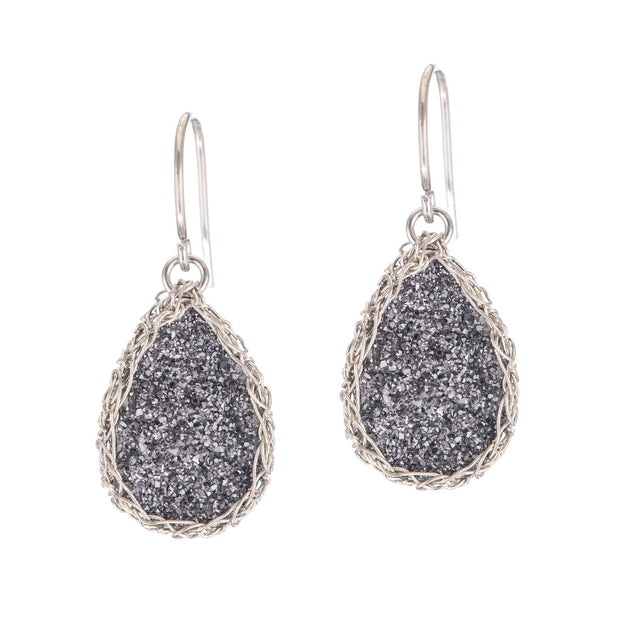 Small Druzy Teardrop Earrings Silver