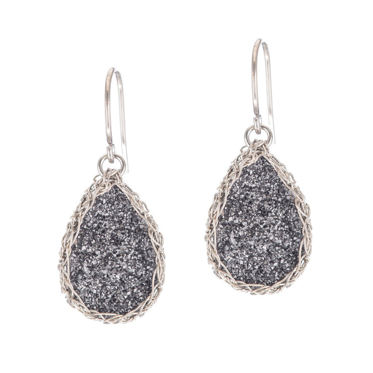 Dusty Black Small Teardrop Druzy Earrings in Silver