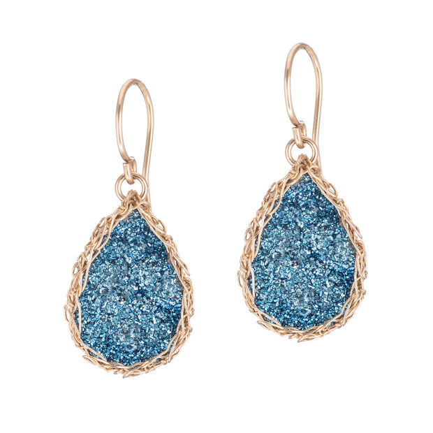 Cobalt Small Teardrop Druzy Earrings in Gold