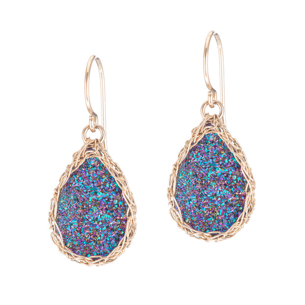 Rainbow Small Teardrop Druzy Earrings in Gold