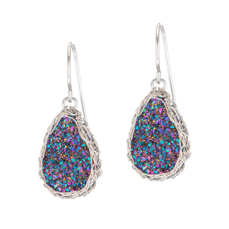 Rainbow Small Teardrop Druzy Earrings in Silver
