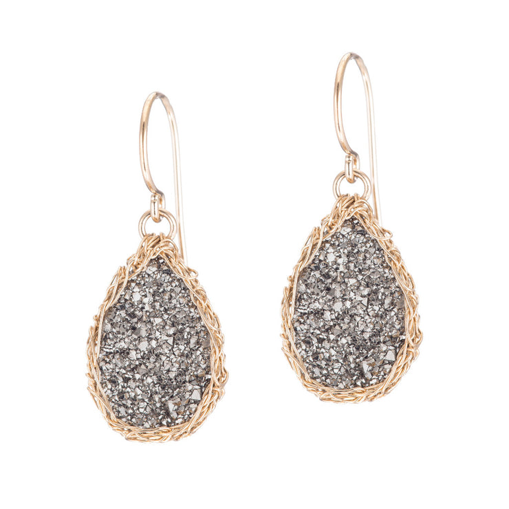 Small Druzy Teardrop Earrings Gold