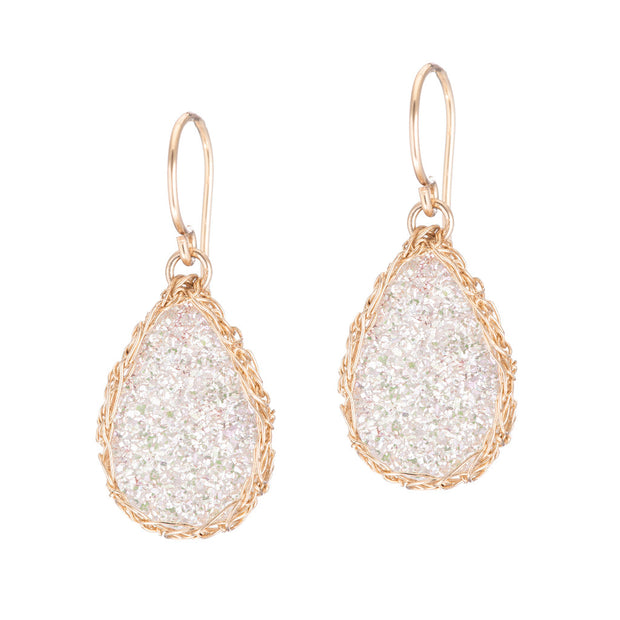 White Small Teardrop Druzy Earrings in Gold