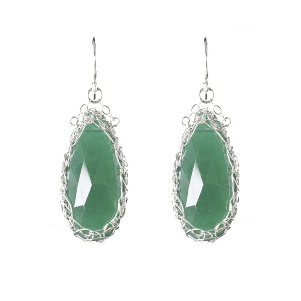 Long Gemstone Teardrop Earrings in Silver