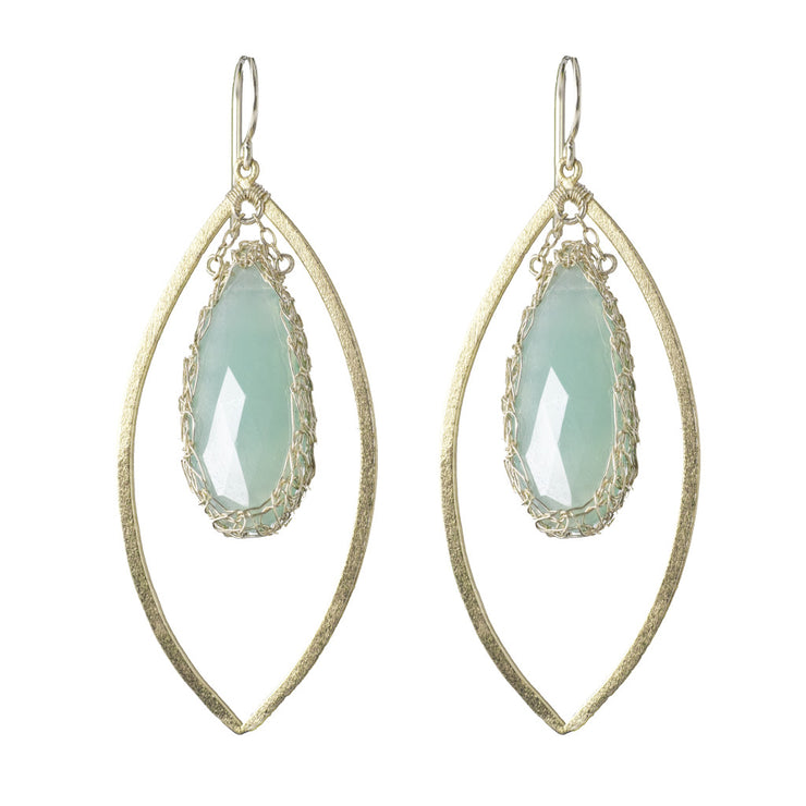 Long Gemstone Marquise Earrings in Gold