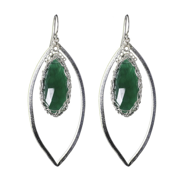 Green Onyx Long Gemstone Teardrop Marquise in Silver