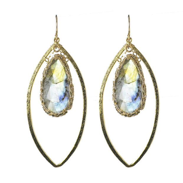 Labradorite Long Gemstone Marquise Earrings in Gold