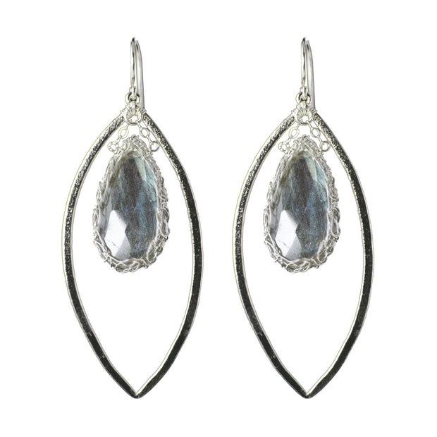 Labradorite Long Gemstone Marquise Earrings in Silver