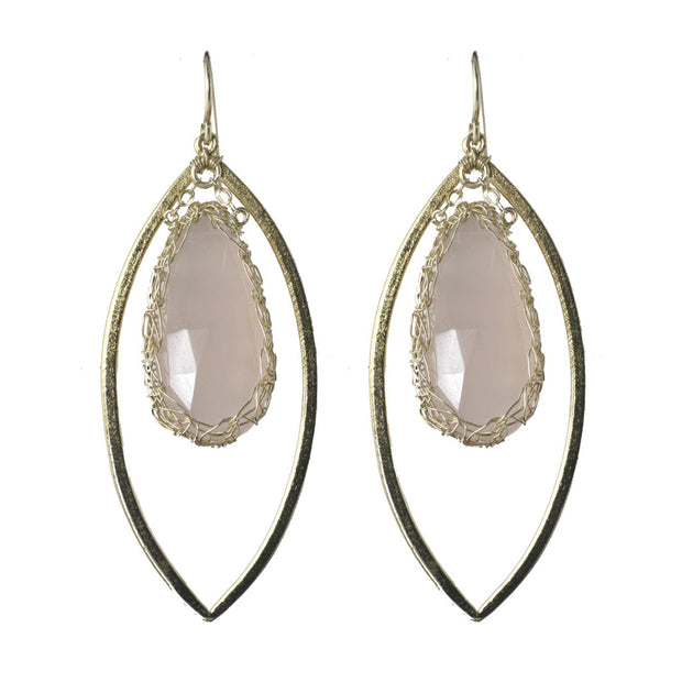 Quartz Long Gemstone Marquise Earrings in Gold