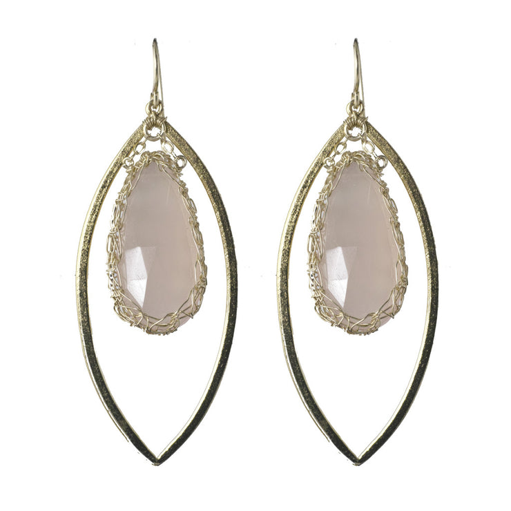 Pink Chalcedony Long Gemstone Marquise Earrings in Gold