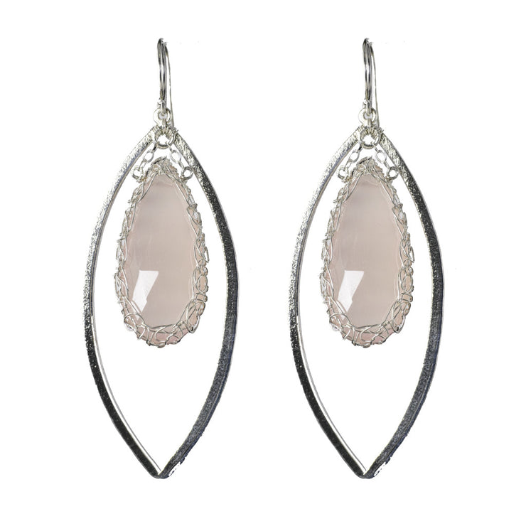 Pink Chalcedony Long Gemstone Marquise Earrings in Silver