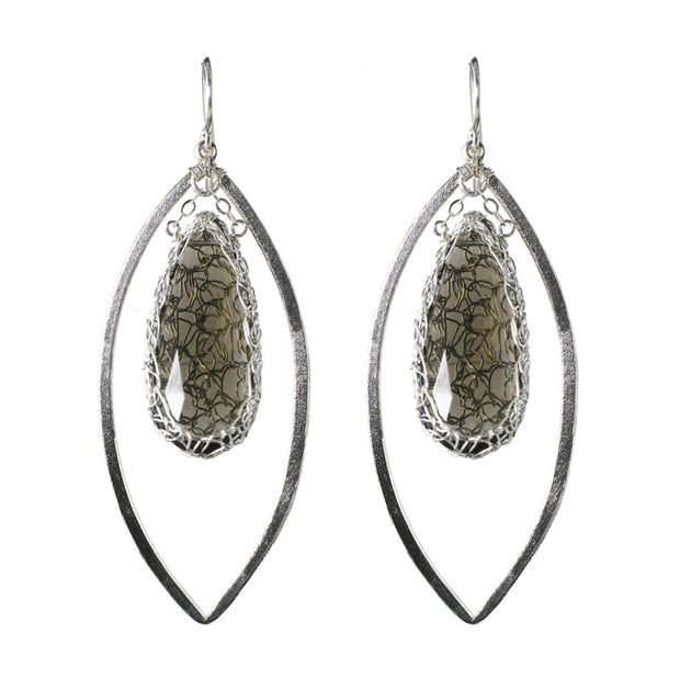 Smokey Quartz Long Gemstone Marquise Earrings in Silver