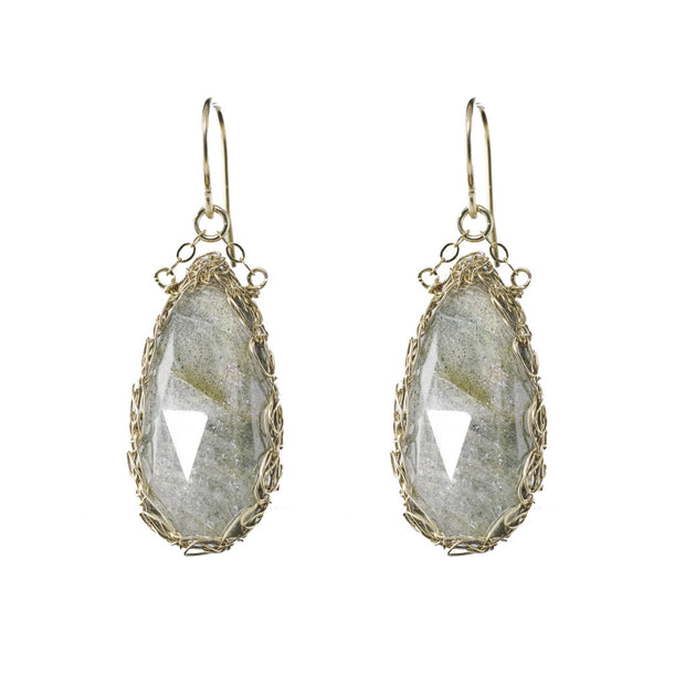 Long Gemstone Teardrop Earrings in Gold