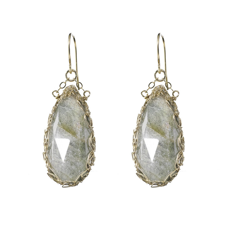 Labradorite Teardrop Earrings in Gold
