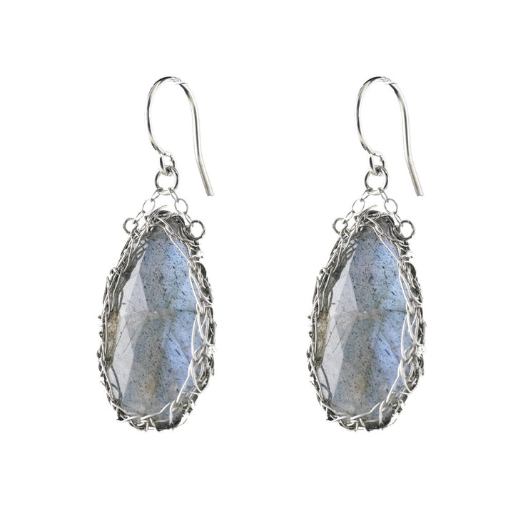 Labradorite Teardrop Earrings in Silver
