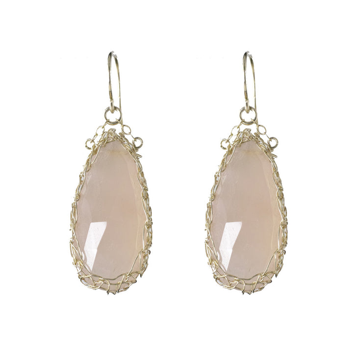 Pink Chalcedony Long Teardrop Earrings in Gold