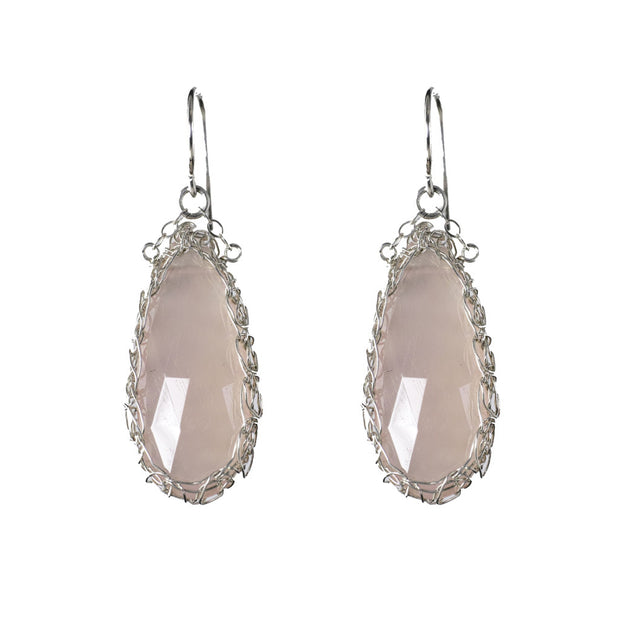 Pink Chalcedony Long Teardrop Earrings in Silver