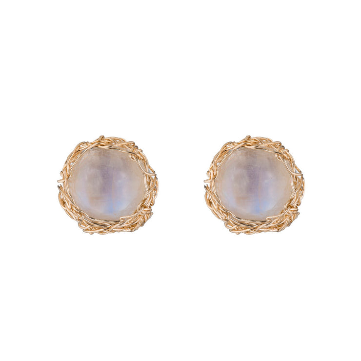 Small Gemstone Round Post Earrings In Gold