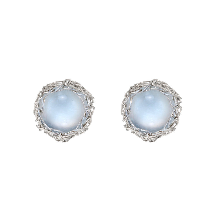 Small Moonstone Post Earrings In Silver