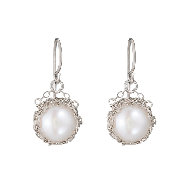 Small Pearl Round Dangle Earrings Sterling Silver