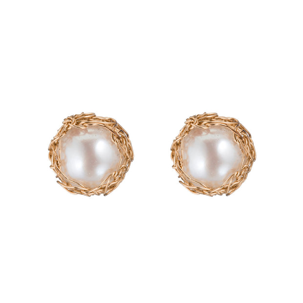 Small Pearl Round Post Earrings Gold