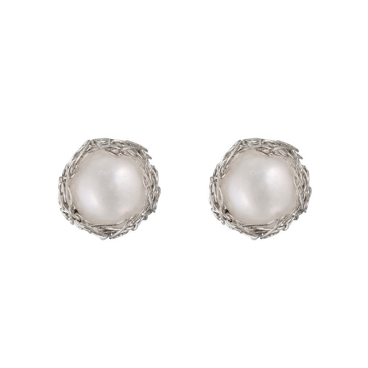 Small Pearl Round Post Earrings Sterling Silver