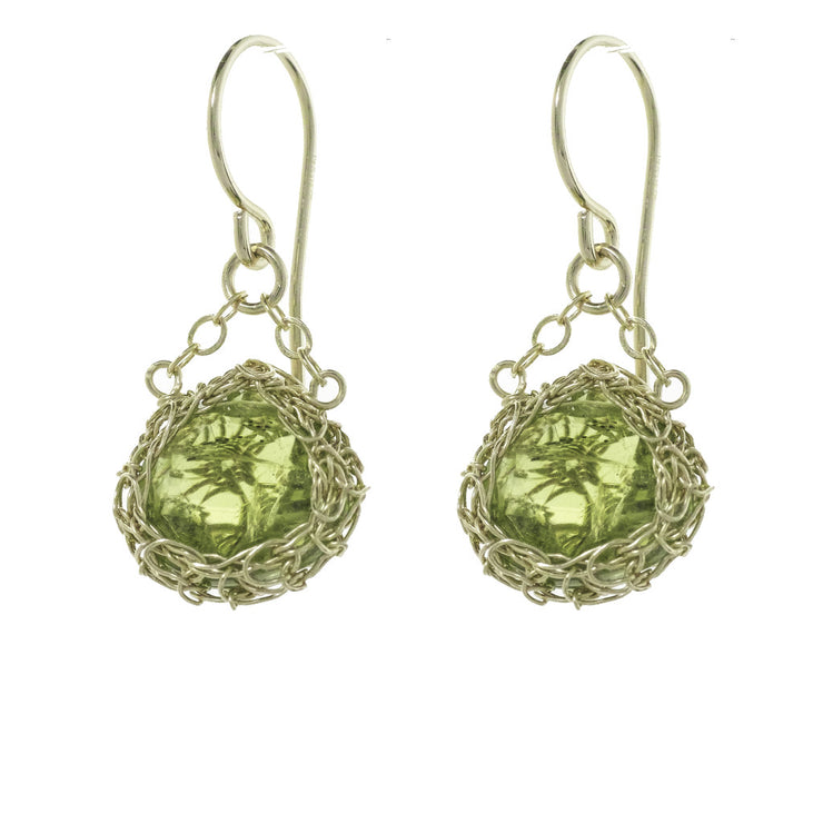 Peridot Teardrop Dangle Earrings Gold