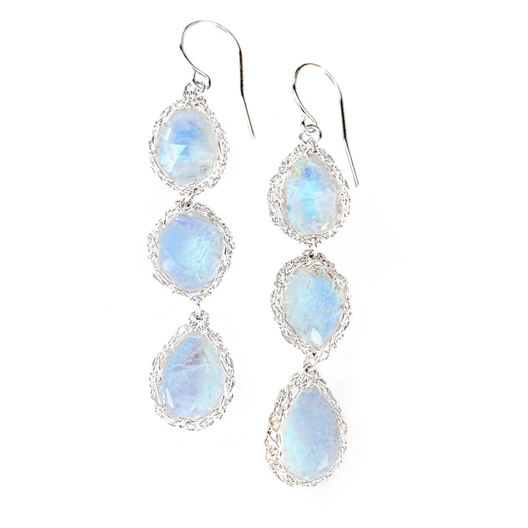 Three Stone Moonstone Teardrop Earrings in Silver